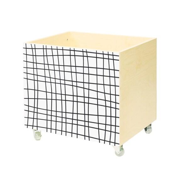 Toy chest, nursery toy box, toy bin storage, toy hope crate Black grid ...