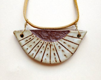 Ceramic Etched Pendant Necklace Buckskin Cord
