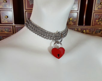 Red Heart Valentine Choker, Heart Choker, Heart Collar, Lovers Necklace, Chrome necklace, Goth, Punkrock, Chrome collar, Chrome choker