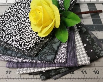 9 Fat Quarters - Cotton Fabric in Blacks/Greys