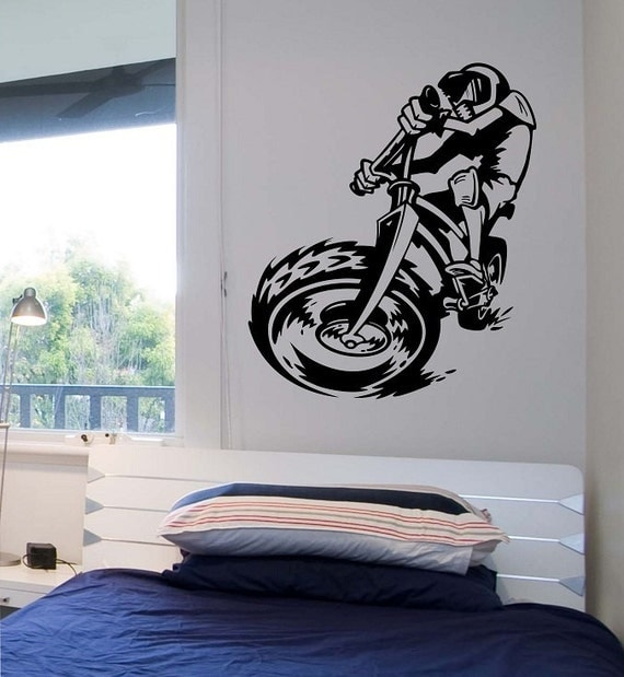 Dirt bike riding wall decal champion sticker art decor bedroom for Dirt bike bedroom ideas