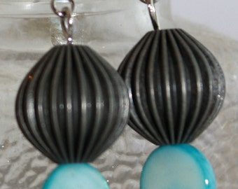 Pewter and teal ball dangle earrings