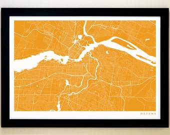 OTTAWA Map Art Print, Giclée Print, Ottawa Wall Art