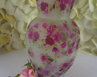 Glass Vase With Floral Pattern CLOSEOUT