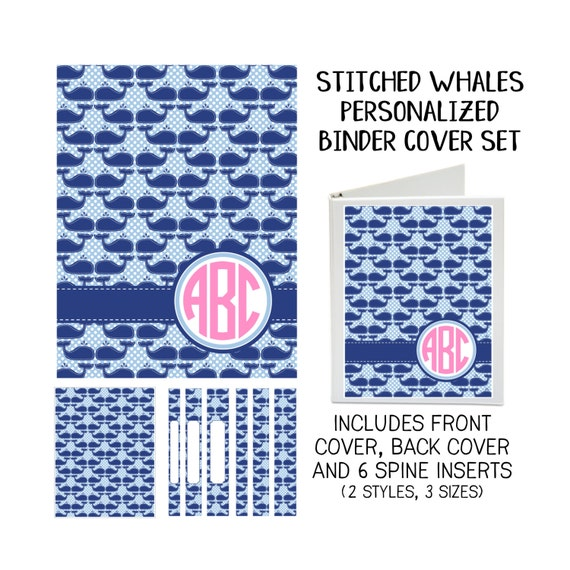 Stitched Whales Printable Binder Cover Set With Front & Back
