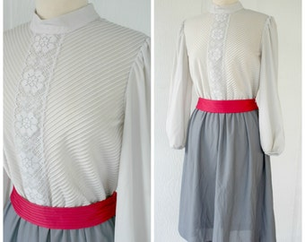 Two Tone Grey Dress with Bright Pink Belt, Knee Length Belted Gray Jennifer Gee Dress, Mockneck Sheer Lace Dress, 70s Mid Length Size 14