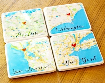 World Map Map Art Custom Gifts Custom Coasters Map Coasters Personalized Graduation Gifts For Dad City Maps Drink Coasters Gifts For Him