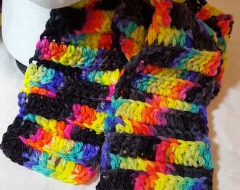 Neon and Black Merino Wool Scarf