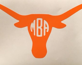 Custom Longhorn Decal, Custom Longhorn Monogram, Longhorn Sticker