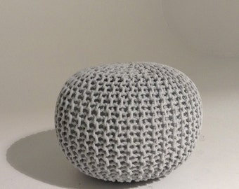 Handmade Knitted Pouf | Glacier Gray | 50x35cm | Hand Knit Pouf Ottoman Footstool