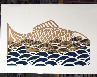 Linocut fish - sea