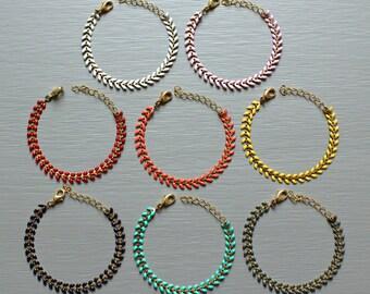 """Bracelet chain enamel spike & brass """"Freesia"""" (14 colors) Pemberley jewellery / jewelry / women Bracelet / enamel Bracelet / Bohemia"""