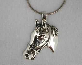 Sterling silver horse head pendant, 925 silver