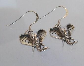 Sterling silver jewellery - African elephant earrings, 925 jewellery