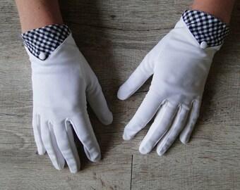 white gloves and vintage gingham