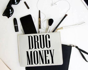 Drug Money Clutch - 7x9 in Faux Leather Handbag - Clutch - Pouch - AGB-134-WHITE