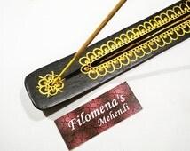 Incense Holder, Incense, Incense Support, Incense Burner, Wooden, Namaste, Meditation, Incense stick holder, Golden flower, Floral