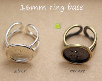 Ring Base Blanks-Bague-Bezel Ring Blank-Ring Setting Bronze-16mm Cabochon Ring Base Setting-Blank Ring Base 16mm-HIGH QUALITY-Choose Qty