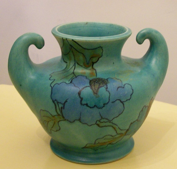 Vintage japanese green arts and crafts pottery vase in for Arts and crafts pottery makers