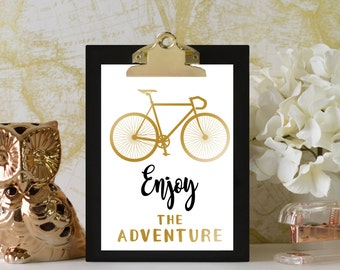 Enjoy the Adventure Print // Adventure Nursery // Adventure Nursery Decor // Bicycle Nursery // Digital Print // Gold, Black, Custom Colors