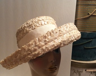 50% Off Sale Vintage Upturned Wide Brim Vanilla Straw Hat