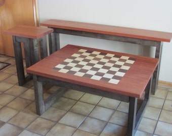 Coffee table with inlaid chess board