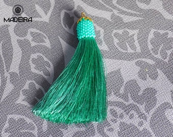 Pendant with tassels. brush,  hippie, Pendant Brush Mint, pendant beads, beadwork