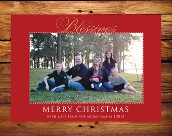 Christmas Photo Card - Blessings Red
