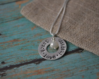 teacher necklace, hand stamped teacher necklace, teach, love, inspire necklace, teacher jewerly, teach necklace