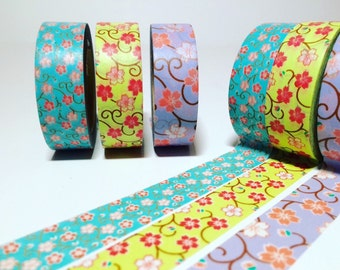 Cherry Blossom, Washi Tape, Blue, Sage Green, Periwinkle