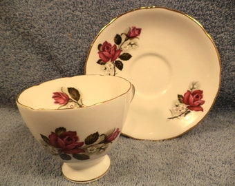 Floral Rose Cup And Saucer With Gold Trim Fine Bone China