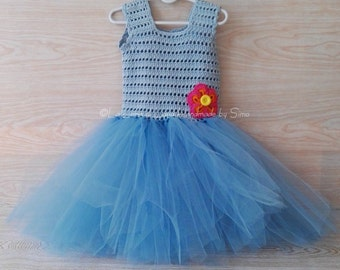 Baby crochet and tulle or pinafore dress