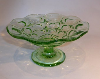 Green Pressed glass pedestal dish - original from the 1960s