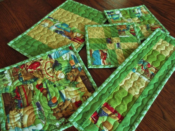 Items similar to kitchen mat set green quilted potholders for Quilted kitchen set