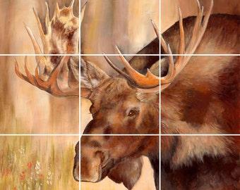Moose Tile Mural Painting Back Splash Kitchen Home Decor Art