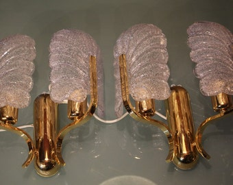 Set of 2 Mid Century Orrefors sconces, designed by Fagerlund