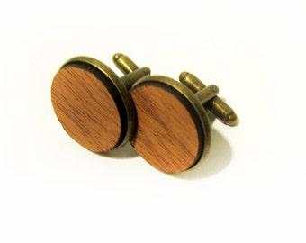 Mahogany Wood Cuff Link Pair (2) - Handmade Wooden Cuff Link