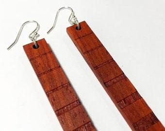 Wood Earring - Dangle Wooden Earring Pair - African Padauk Redwood - Lightweight Long Hanging Earring - 2.5 inches