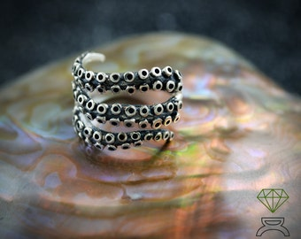 Sterling Silver Octopus Ring  with oxidized textures Silver Ring