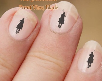 Polo Pony Nail Art, 3,  black, trotting, side view,  fingernail stickers, horse and rider, Polo sport, pony silhouette,nail art, decals,