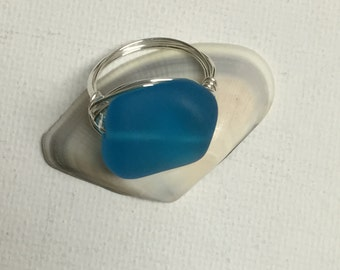 Blue Geometric Sea Glass Sterling Silver Wire Wrapped Ring
