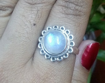 Rainbow Moonstone|7 US|925 Sterling Silver Ring|Round Shape Jewellery