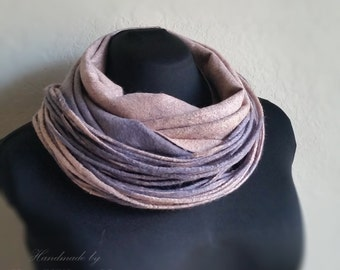 Sold out! Felting scarf with cord. Felt necklace. Shawl scarf felting. Winter. Gift for Her