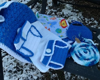 Crochet Baby Blanket, Bibs, Burp Cloths and Diaper Covers/Baby Shower Gift Set
