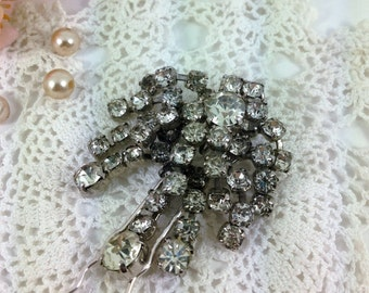 Bridal Hair Pin, Rhinestone Hair Accessory, Large Hair Pin, Vintage Wedding, Decorative Hair Pin