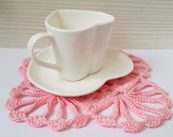 Set of 6 Crochet Coasters Shabby Chic Decor DIY Craft Crochet Home Decor