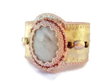 Golden and pink Leather Cuff Bracelet embroidered, Leather Cuff Bracelet with Pink Quartz, Oriental bracelet
