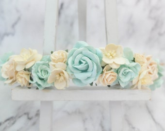 Mint ivory flower crown - wedding floral hair wreath - bridal headpiece - hair accessories - head wreath