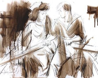 Couple sketch, Giclee art print, Charcoal drawing, Wall decor print, Figurative art, Boat wall art, Graphic art print, Man Woman drawing