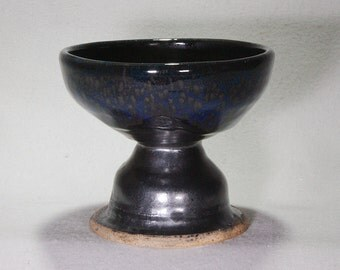 Small Black Stoneware Compote with Blue Highligts